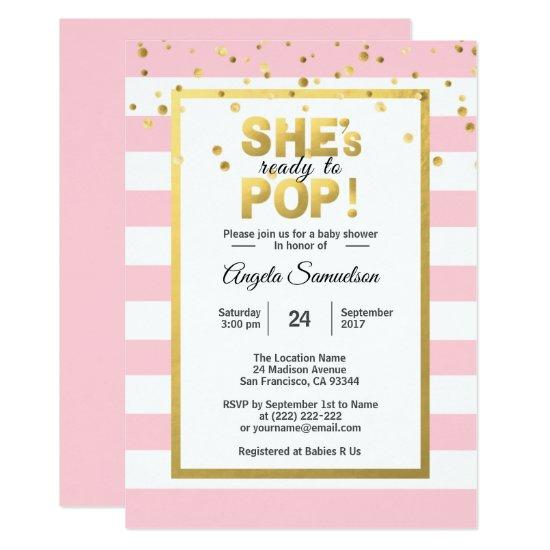 She S Ready To Pop Gold Pink Baby Shower Card