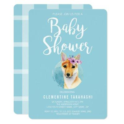Shiba Inu with Flower Crown | Baby Shower Blue Invitation