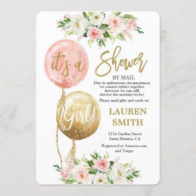 Shower by Mail balloon baby shower girl Invitation