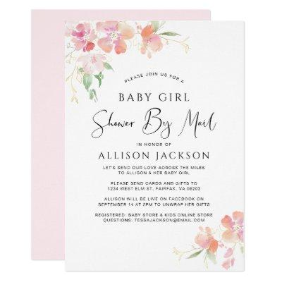 Shower By Mail Floral Pink Watercolor Baby Girl Invitation