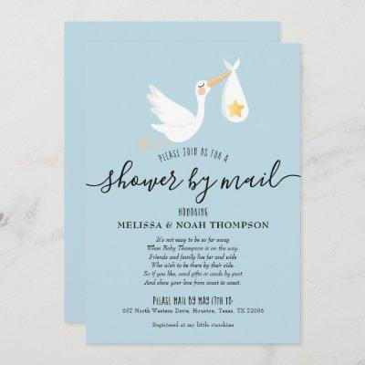 Shower By Mail Long Distance Sprinkle Blue Invitation