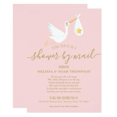 Shower By Mail Long Distance Stork Pink Invitation