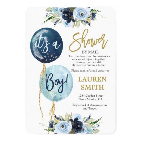 Shower by Mail Navy blue balloon baby shower boy Invitation
