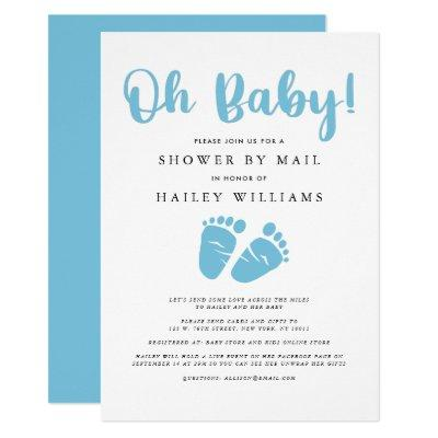 Shower by Mail | Oh Baby Boy Blue Baby Feet Invitation