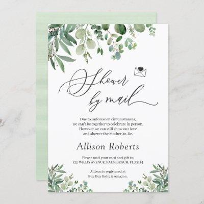 Shower By Mail Script Greenery Eucalyptus Leaves Invitation