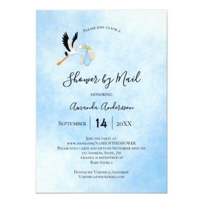Shower by mail stork baby boy blue sky cute invitation