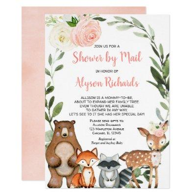 Shower by mail woodland floral girl baby shower invitation