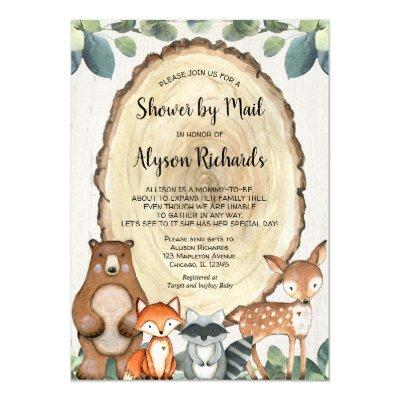 Shower by mail woodland gender neutral baby shower invitation
