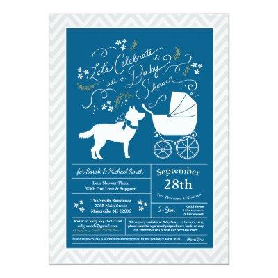 Siberian Husky Dog Baby Shower Blue Boy Invitation