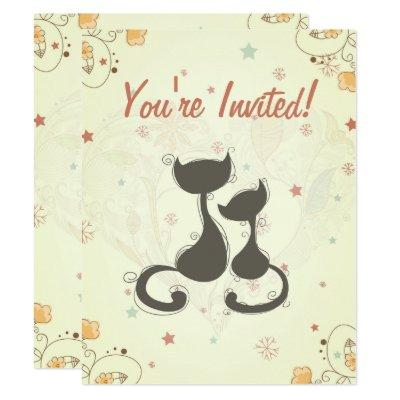 Silhouette Mom Cat and Kitten Invite