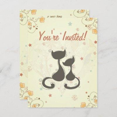 Silhouette Mom Cat and Kitten Baby Shower Invite