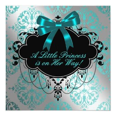 Silver and Teal Blue Princess Baby Girl Shower Invitations