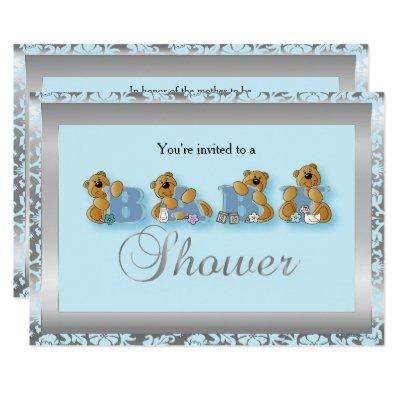 Silver & Blue Damask Teddy Bears | Baby Shower Invitation