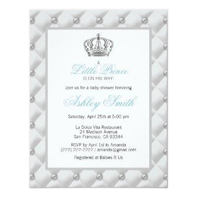 Silver Crown Prince Baby Shower Invitations