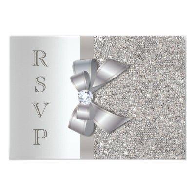 Silver Faux Bow & Diamonds RSVP Card