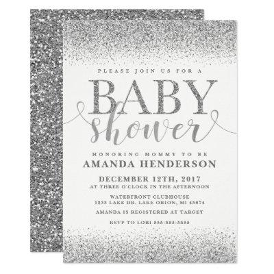 Silver Faux Glitter Baby Shower Invitations