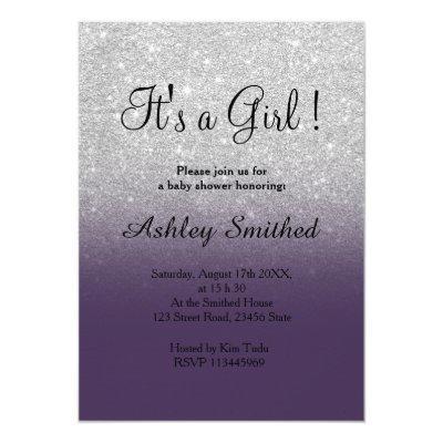 Silver faux glitter purple ombre girl baby shower Invitations