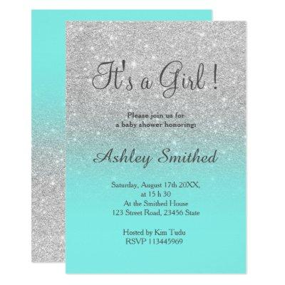 SIlver faux glitter teal ombre girl baby shower Invitations