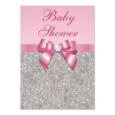 Silver Gems, Bow & Diamonds Girls Pink