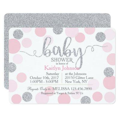 Silver Glitter and Pink Scattered Dots Baby Shower Invitation