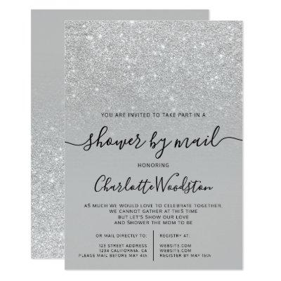 Silver glitter gray cancelled shower by mail invitation