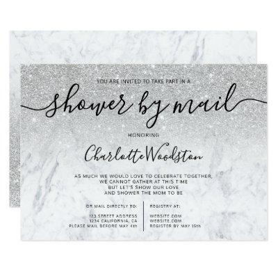 Silver glitter marble cancelled shower by mail invitation