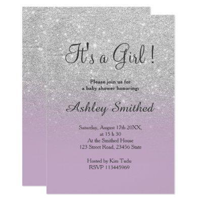 Silver glitter purple ombre girl