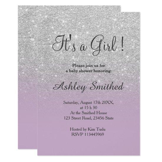 Silver glitter purple ombre girl baby shower card