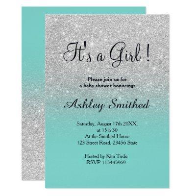Silver glitter robbin egg ombre girl baby shower Invitations