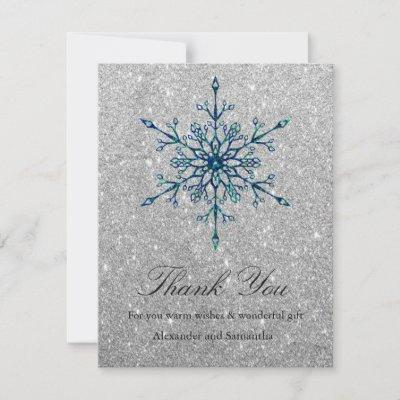 Silver Glitter Winter Snowflake Thank You Card