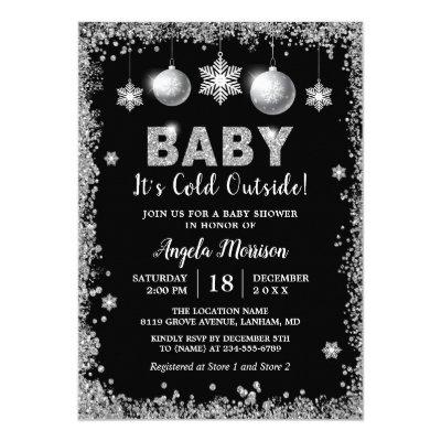 Silver Glitters Snowflakes Baby It's Cold Outside Invitations