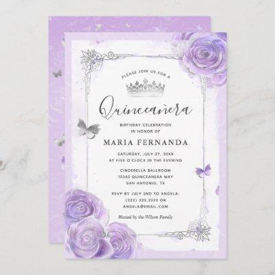 Silver Light Purple Roses Elegant Quinceanera Invitation