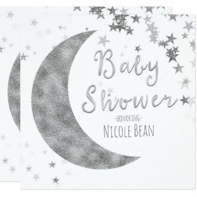 Silver Moon & Stars Baby Shower White Invitations