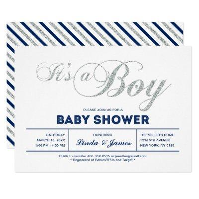 Silver, Navy | Modern Typography Boy Baby Shower Invitation