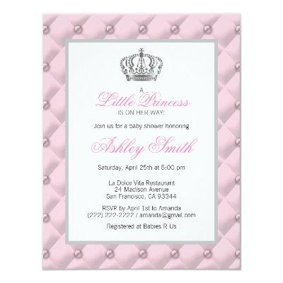 Silver Pink Crown Princess Baby Shower Invitations