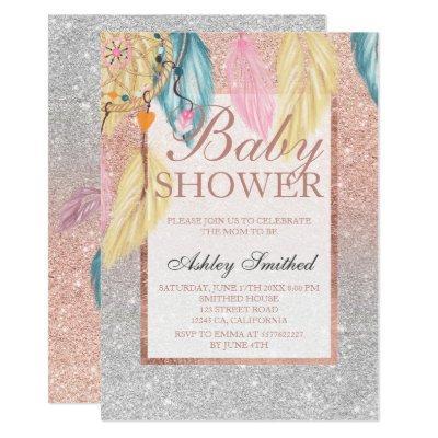 Silver rose gold glitter dreamcatcher baby shower invitation