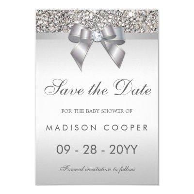 Silver Sequins Bling Bow Save The Date