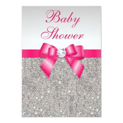 Silver Sequins Hot Pink Bow Girls