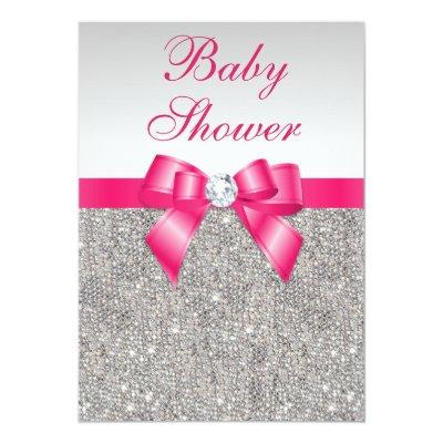 Silver Sequins Hot Pink Bow Girls Baby Shower Invitation