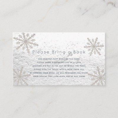 Silver Snowflakes Please Bring a Book Card