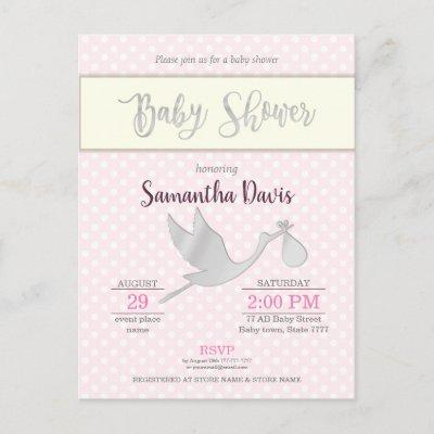 Silver Stork Baby Girl Baby Shower Invitations Postcard