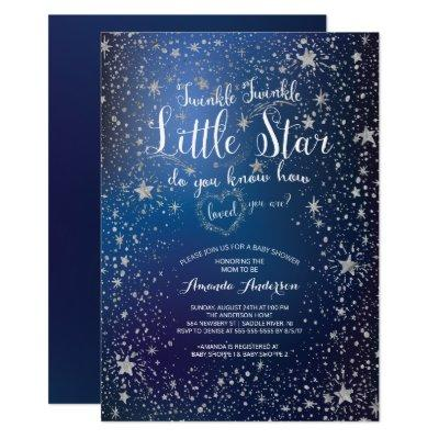 Silver Twinkle Little Star Baby Shower Invitations