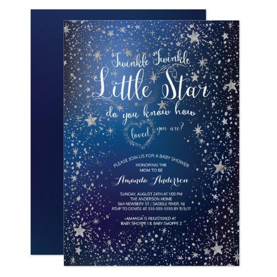 Silver Twinkle Little Star Baby Shower Invitation