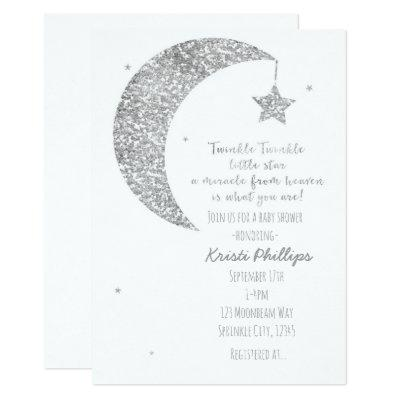 Silver White Moon & Stars Baby Shower Invitations