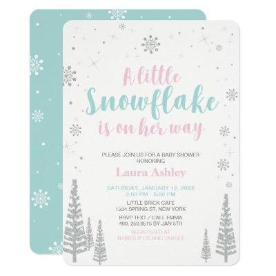 Silver Winter Wonderland, Girl Baby Shower Invitation