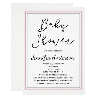 Simple and Clean Pink White Black Baby Shower Invitations