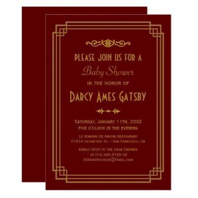 Simple Art Deco Burgundy Baby Shower Invites