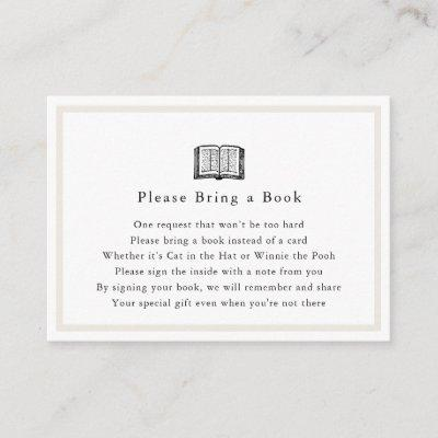 Simple Baby Shower Please Bring a Book Card