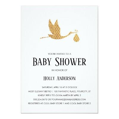 Simple Baby Shower Preppy Gold Stork w/ Bundle Invitation
