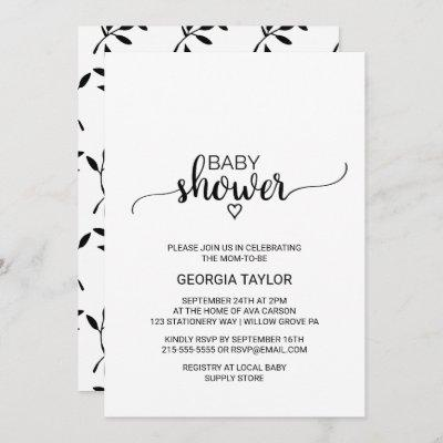 Simple Black and White Calligraphy Baby Shower Invitation